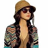 Mosunx(TM Women's Summer Straw Hat Color Striped Beach Sun Hat Foldable Hat