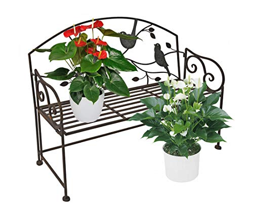 (PierSurplus Decorative Folding Metal Bench Plant Stand with Bird and Vines Product SKU: GD229333 )
