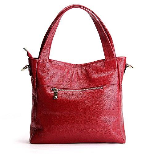 cuir portés fashion Sac bandoulière en épaule Sac portés Sac femme Sac main à Rouge LF 1823 main DISSA ZUqX0OSw