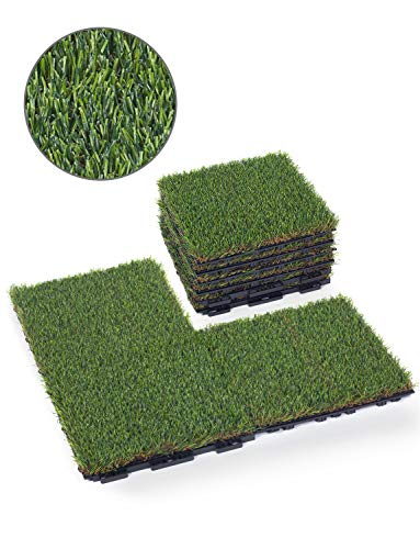 (GOLDEN MOON Artificial Grass Turf Tile with Upgrade Interlocking System Self-draining Grass Tiles, 1x1 ft, 1 in Pile Height, 9 Pack )