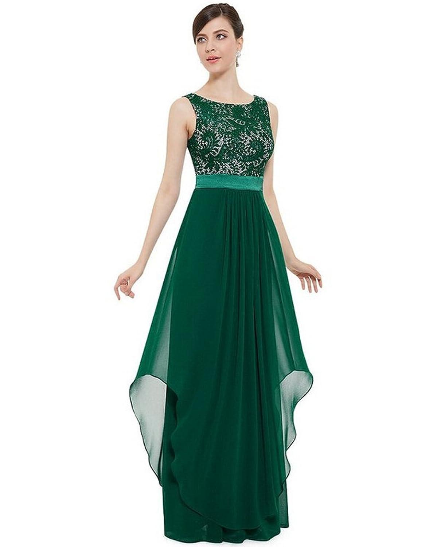 Moollyfox Frauen Elegante Ärmellose Spitze Chiffon Kleid