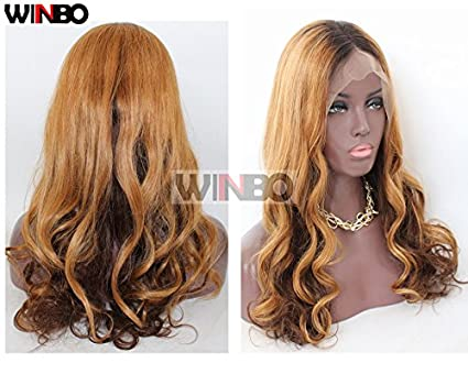 winbowig humano cabello completa encaje Pelucas Naturales Ondulado # 1B/27/4 Ombre color