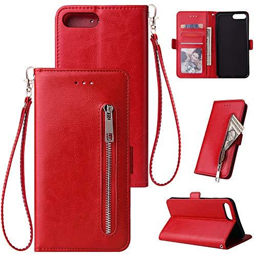 OUYAWEI قابل حمل برای آیفون 7 به علاوه / 8 به علاوه جامد رنگ PU چرم زیپ کیف پول دو محافظ کیف محافظ با پایه