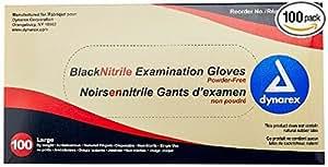 Dynarex 2523 Nitrile Exam Gloves, Large, Black (Pack of 1000)