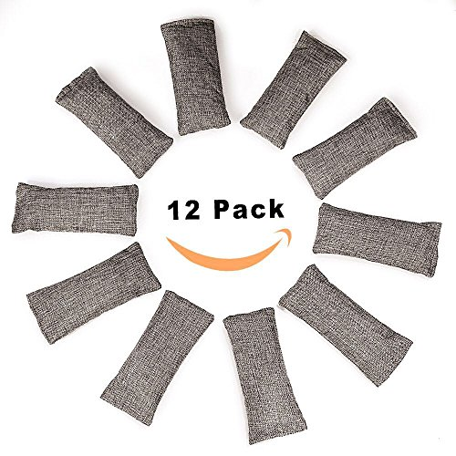 12 Packs Natural Air Purifying Bag, Shoe Deodorizer and Odor Eliminator, 100% Natural Activated Bamboo Charcoal Non-Toxic, (75g Each Pack)