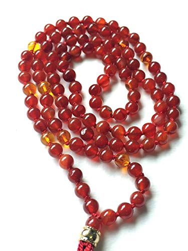 Carnelian & Amber Mala Prayer Beads