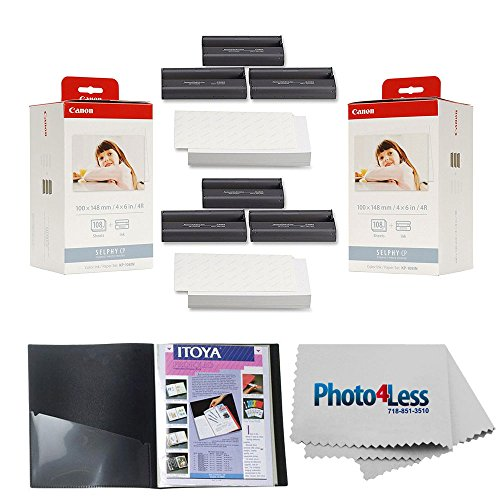Canon KP-108IN Color Ink and Paper Set x2 + Itoya Art Profolio Original Storage/Display Book (4 x 6, 24 Two-Sided Pages) + Photo4Less Cleaning Cloth