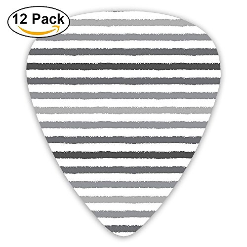Newfood Ss Gray And White Stripes Monochrome Tones Brush Style Lines Grunge Retro Digital Printed Guitar Picks 12/Pack Set
