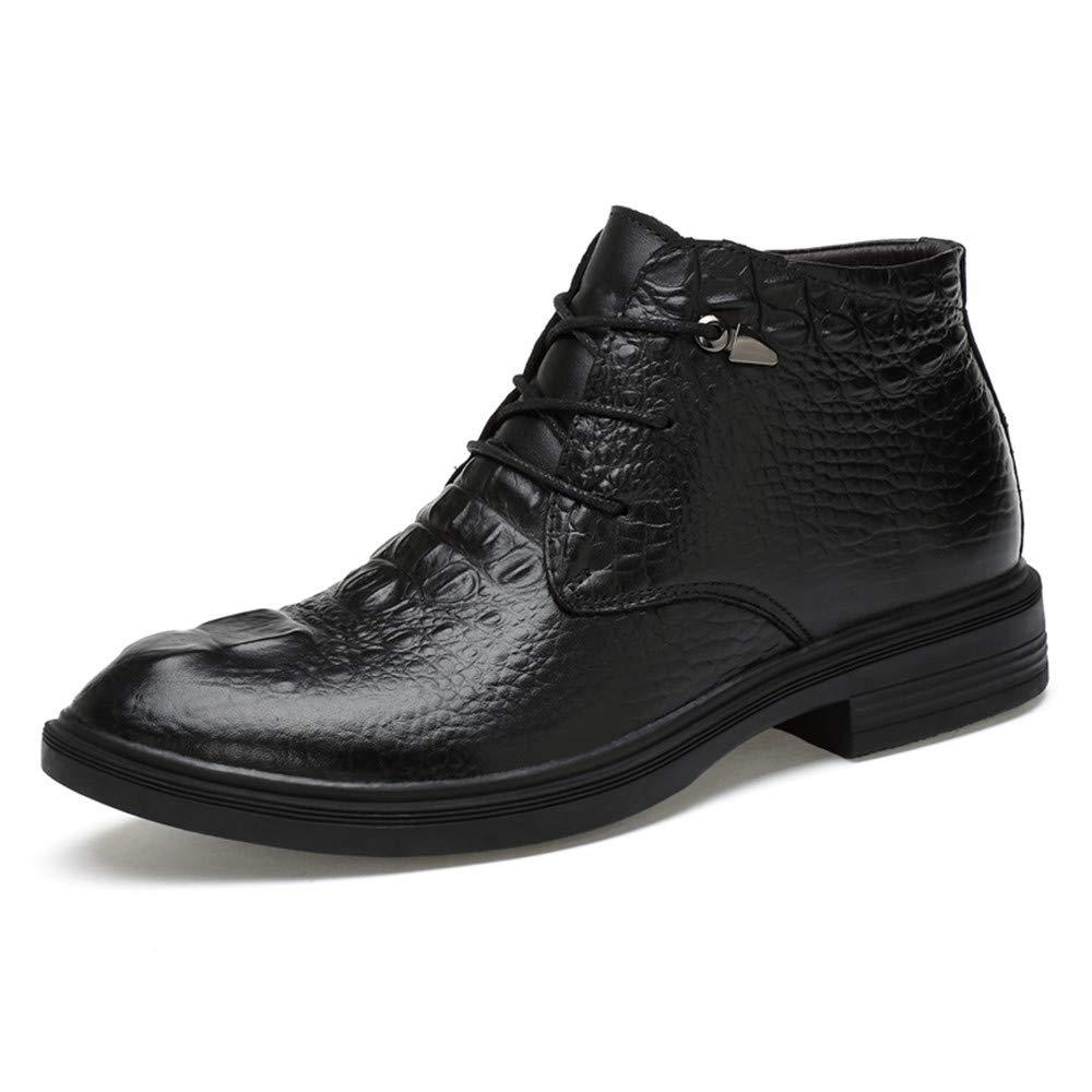 Noir JUJIANFU-chaussures Bottines pour Homme en Cuir de qualité décontracté Imprimé Crocodile
