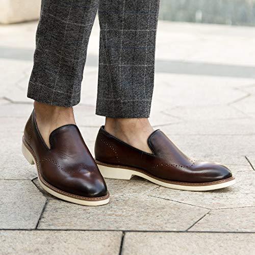 Zhuxin Casual Echtes Leder Handmade Loafers Casual Zhuxin Mokassins Männlichen Büro Schuh Runde Kopf Block Oxfords Für Männer (Farbe : Brass, Größe : 42 EU) Braun 379f0a