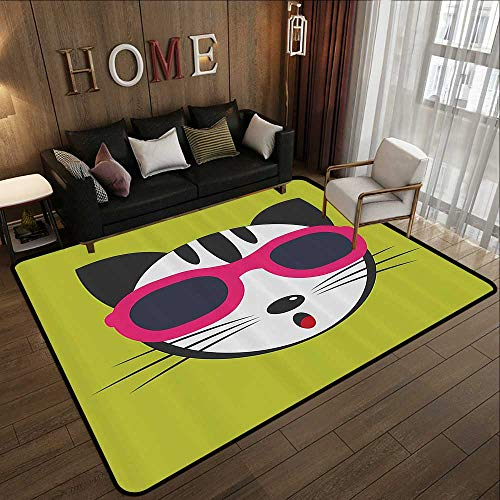 - Contemporary Indoor Area Rugs,Animal,Cute Kitten Wearing Pink Sun Glasses Cool Modern Hipster Cat Fashion Fun Pets Art Print,Multi 59