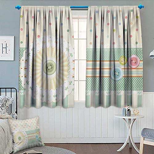 Window Curtain Sewing Theme Border with Button Floral Patch Traditional Lace Like Dots Print Customized Curtains 55
