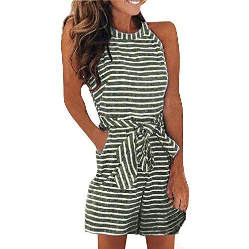 Goddessvan Womens Striped Sleeveless Jumpsuit Waist Belted Zipper Back Wide Leg Rompers with Pockets Green