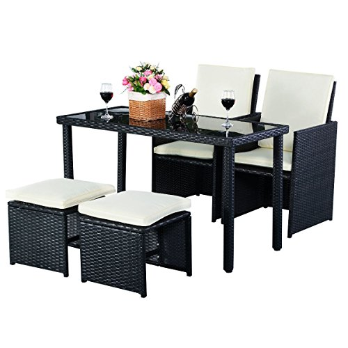5piece Outdoor Patio Furniture SetRattan Wicker for Outdoor Garden Beach Patio And Poolside. 1 Tempered Glass Top Rectangle Table +2 Ottoman Seats +2 Single Chairs, All With Thick Firm Cushions! (Glass Tropitone Table)