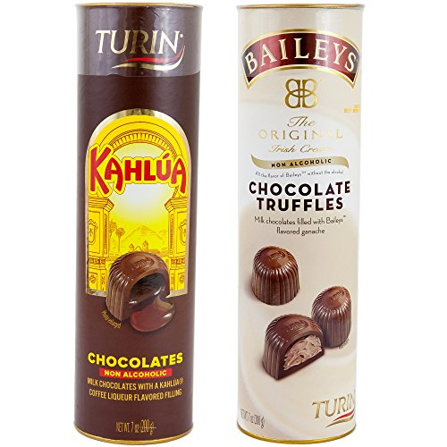Baileys Irish Cream NON-Inebriating Milk Chocolate Ganache Truffles And Kahlua Coffee Liqueur Milk Chocolate NON-ALCOHOLIC | 7 Oz Each Tube Flavored Fillings Unmitigated Holiday Gift (Baileys+Kahlua)