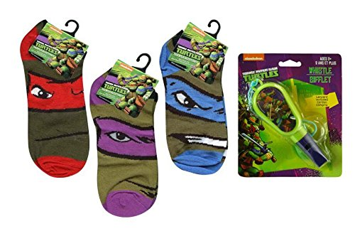 TMNT Ninja Turtles Kids Anklets Socks Collection Sizes6-8.5 Plus Bonus TMNT Whistle with Attached Lanyard! by ABG Accessories