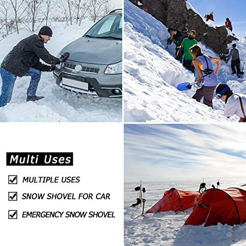 "SHANTRA Aluminum Emergency Snow Shovel Adjustable and Collapsible Folding Garden/Sport Utility Shovel Suitable for Car or Truck Storage (8"" Blade)"