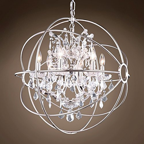"FoucaultS Orb 6 Lt 25"" Polished Nickel Pendant W/Swarovski Crystal & Led Bulb"