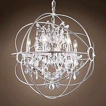 "FoucaultS Orb 6 Lt 25"" Polished Nickel Pendant W/Swarovski Crystal & Led Bulb"