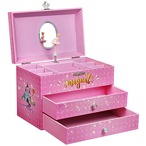 SONGMICS Large Ballerina Musical Jewelry Box, Unicorn for Little Girls, Music Storage Box with 2 Pullout Drawers - Musical Fairy Box Jewelry Treasure