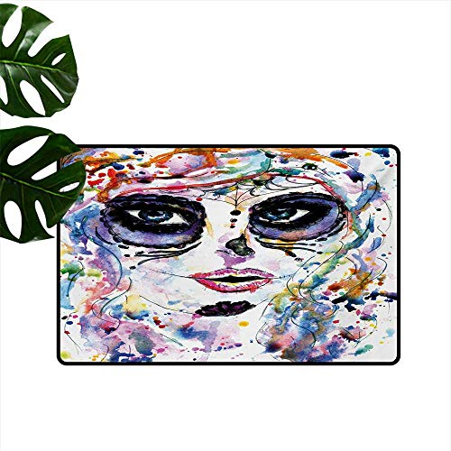 Decorative Floor mat,Halloween Girl with Sugar Skull Makeup Watercolor Painting Style Creepy Look 32