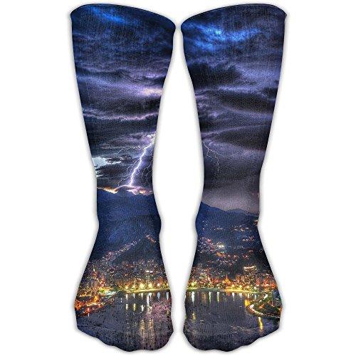 Halloween Lightning Machine (Lightning Weather Unisex Tube Socks Crew Over The Calf Soccer Comfort Stockings For Sport And Travel)