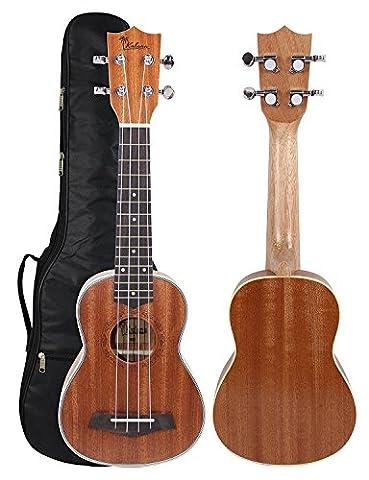 Kulana Deluxe Soprano Ukulele, Mahogany Wood with Binding and Aquila Strings + Gig Bag (Uke Soprano Strings)