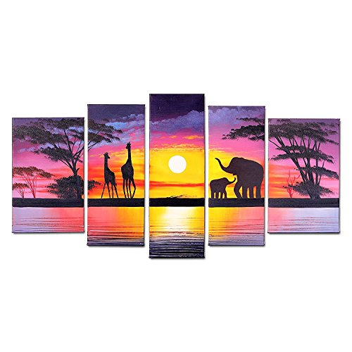 FLY SPRAY 5-Piece 100% Hand-Painted Oil Paintings Panels Stretched Framed Ready Hang Animals Elephants Giraffes Mom Children Sunset Modern Abstract Canvas Living Room Bedroom Office Home Wall Art (Art Metal Elephant)