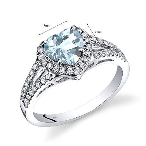 14K White Gold Aquamarine Diamond Halo Ring Heart Shape 1.40 Carats Total