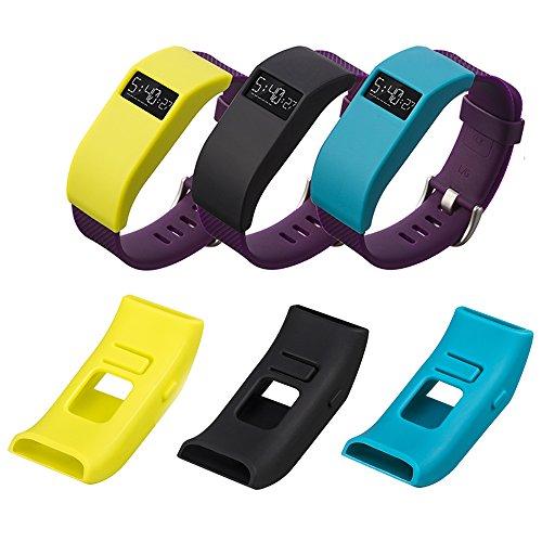 Mofun® 3PC en caoutchouc de silicone doux prise de la poussière Housse pour Fitbit chargeur HR HR Band Noir/jaune/bleu sarcelle