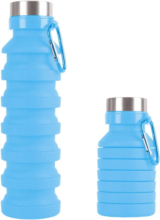 18oz Reuseable BPA Free Silicone Leak Proof Foldable Sports Canteen for Travel /& Outdoor HYOUT Collapsible Water Bottle Portable Water Bottles with Carabiner