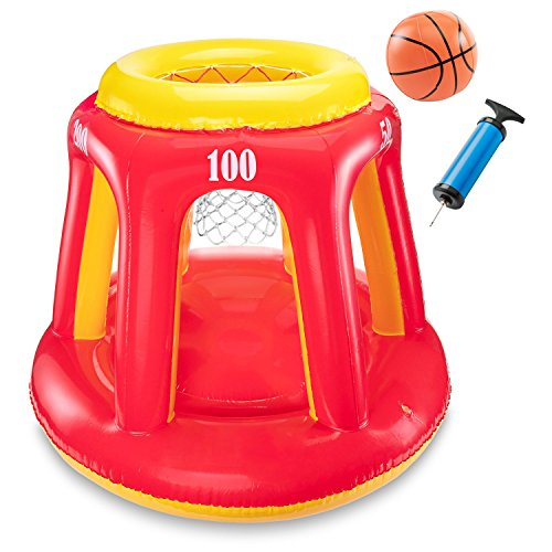 "Game Basketball Hoop Water (Ivation Inflatable Floating Basketball Hoop & Blow Up Ball for Swimming Pool & Water Sports – Includes Hand Pump – Exciting, Fun Summertime Water Game For Players Of All Ages – 36"" Tall)"
