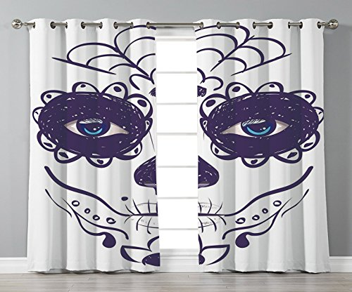 Thermal Insulated Blackout Grommet Window Curtains,Day Of The Dead Decor,Dia de los Muertos Sugar Skull Girl Face with Mask Make up,Black White and Blue,2 Panel Set Window Drapes,for Living Room Bedro ()