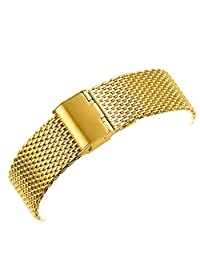YISUYA 20mm Solid Milanese Mesh Stainless Steel Strap with Hook Buckle Classic Golden Watch Band Straps 2.0cm