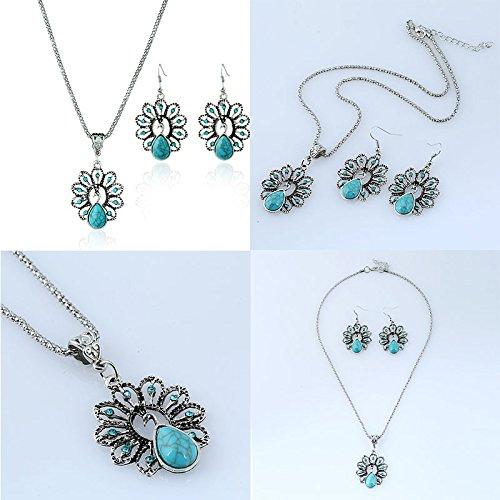1dcab236d9b9 Topdo 1 Juego de collar pendientes de diamante hueco pavo real collar  pendientes conjuntos retro turquesa