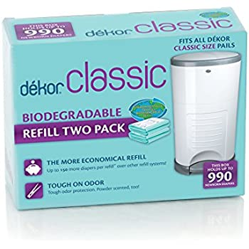 Dekor classic hands free diaper pail white for Dekor classic diaper pail refills