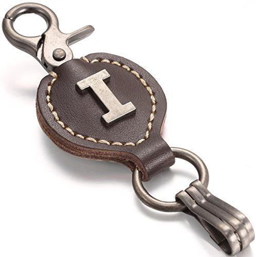 Brown Leather Alphabet Keychain, Single Letter with Easy Clasp Key - by Marino Ave - I - onesize