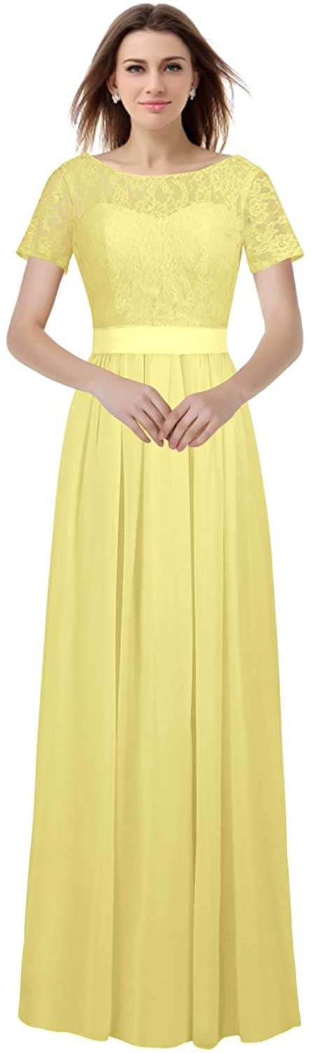 Yellow CaliaDress Women Short Sleeves Long Bridesmaid Dress Evening Gowns C230LF