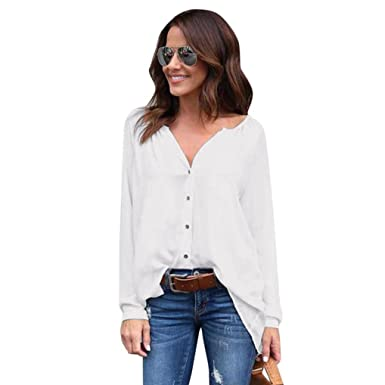 e8bb68453 Image Unavailable. Image not available for. Color: Kangma Women V-Neck Long  Sleeve Loose Casual Chiffon Tops Blouse Button-Down Shirts