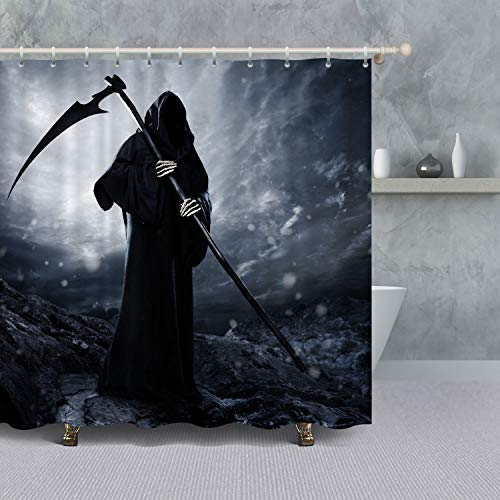 VANCAR The Dead Grim Reaper Bathroom Shower Curtain for Halloween Decoration Gothic Decor Scary Skull Ghost with Reaper's Scythe Halloween Night Background Waterproof Polyester Fabric Bath Curtain Set -