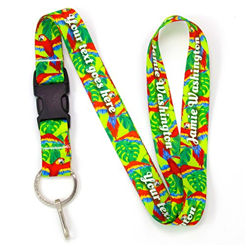 Buttonsmith Scarlet Macaw Premium Custom Lanyard with Buckle and Flat Ring - Personalize with Your Name - Made in USA (American Products Ring)