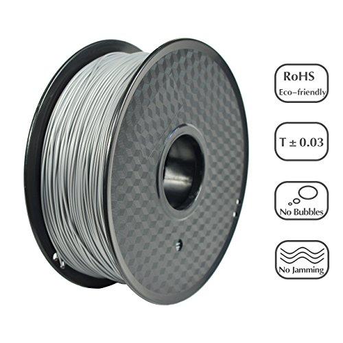 PRILINE PLA-1KG 1.75 3D Printer Filament, Dimensional Accuracy +/- 0.03 mm, 1kg Spool, 1.75 mm, Silver (Pantone - Color Silver Pantone