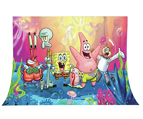 Cartoon Underwater Party Backdrop for Photo, 9x6FT, Spongebob Square Friends Background, Children Room Wall Mural Props LUZZ503