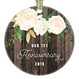 1st Year Anniversary Gifts, First Christmas Married Ornament 2018, Newlywed Wedding Marriage Couple Him Her Keepsake Rustic 3'' Flat Circle Porcelain Ceramic Ornament with Gold Ribbon & Free Gift Box