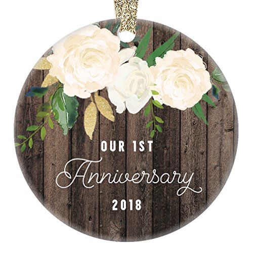 1st Year Anniversary Gifts, First Christmas Married Ornament 2018, Newlywed Wedding Marriage Couple Him Her Keepsake Rustic 3'' Flat Circle Porcelain Ceramic Ornament with Gold Ribbon & Free Gift Box by Digibuddha