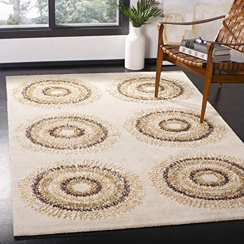 Safavieh Soho Collection SOH719A Handmade Beige and Gold Premium Wool Area Rug 7 6 x 9 6