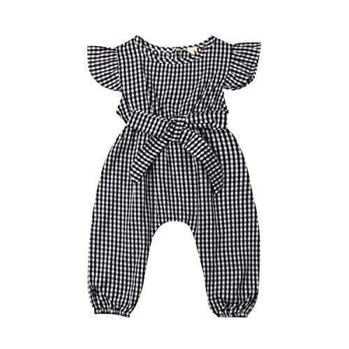 Toddler Baby Girls Plaid Flutter Sleeve Bowknot Bodysuit Romper Knee Pants Summer Jumpsuit Outfits Clothes Sets Summer (Black,0-6 Months) -
