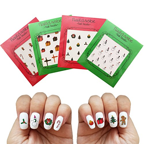 NAILDROBE 4 Pack Christmas Water Slide Nail Art Decal Tattoo (Christmas Decal Set)