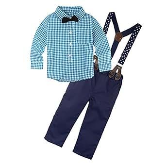 BIG ELEPHANT 2 Pieces Baby Boys Long Sleeve Shirt Suspender Pant Set with Bowtie Q21 - Blue - 3-6 Months