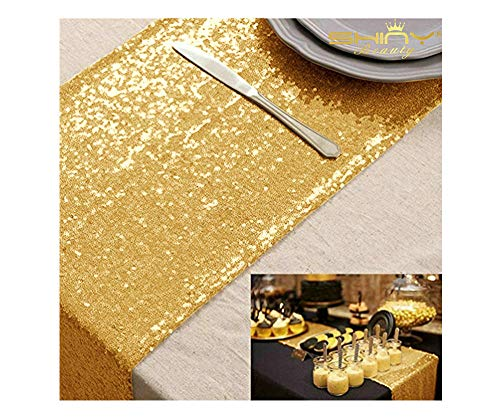 (Gold Table Runners Pack of 3 Wedding Decor Sequin Table Runner 14in X 108in Shiny Gold Graduation Decorations -0723S)